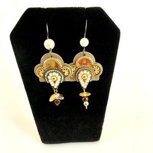 Handmade Ornate Gold Metal & Pearl Earrings